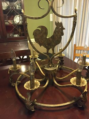 Six light French Country candelabra with Rooster/Chicken. for Sale in Chesterfield, VA