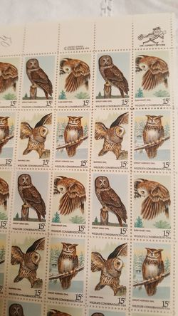 1978 U.S. 'Wildlife Conservation' 15 cent Stamps - Sheet of 50 - Owls 4 designs Thumbnail