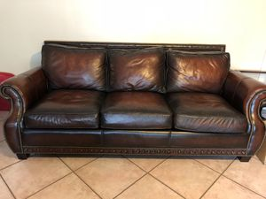 Two Beautiful all leather sofas take one or take both for $200.00 each. Ottoman $65.00 for Sale in Miami, FL