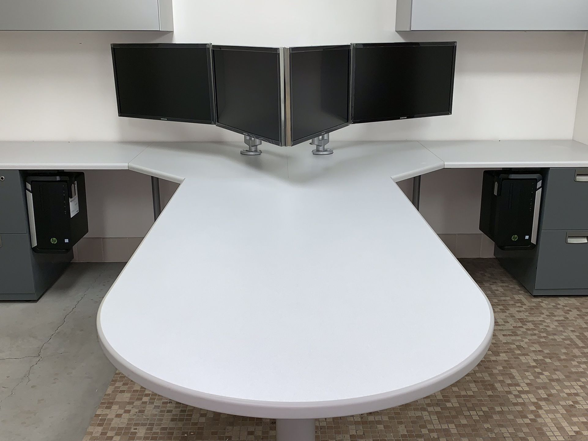 Desk- T Shape with a Bullet top and overhead bins #2
