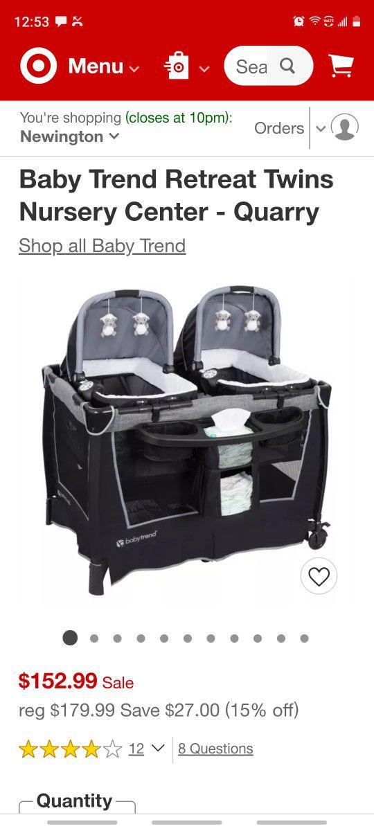 Baby Trend Retreat Twins Nursery Center - Quarry