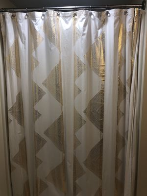Decorative shower curtain, hooks, and shower liner for Sale in Arlington, VA