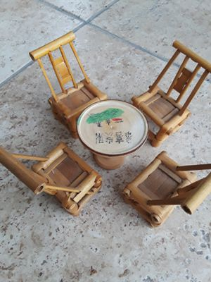 Miniature Doll House Bamboo Dining Set. Table & 4 Chairs for Sale in Houston, TX