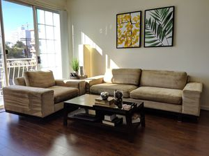 Stylish tan sofa and chair for Sale in Santa Monica, CA