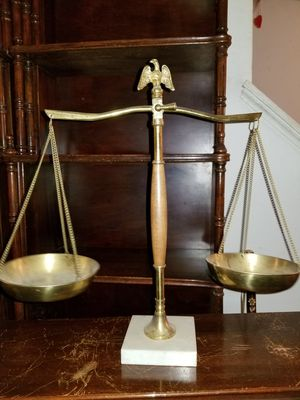 Vintage eagle scale of justece scale made in japan Brass eagle marble Base office decor Bookshelf mid century for Sale in MD, US