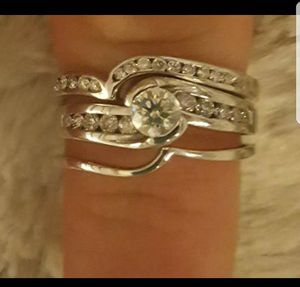3 WHITE GOLD 26 DIAMOND ENGAGEMENT AND WEDDING RING SET for Sale in Boston, MA