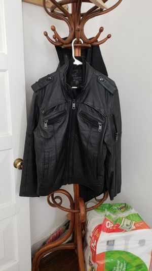 Large black leather jacket true to size for Sale in Washington, DC