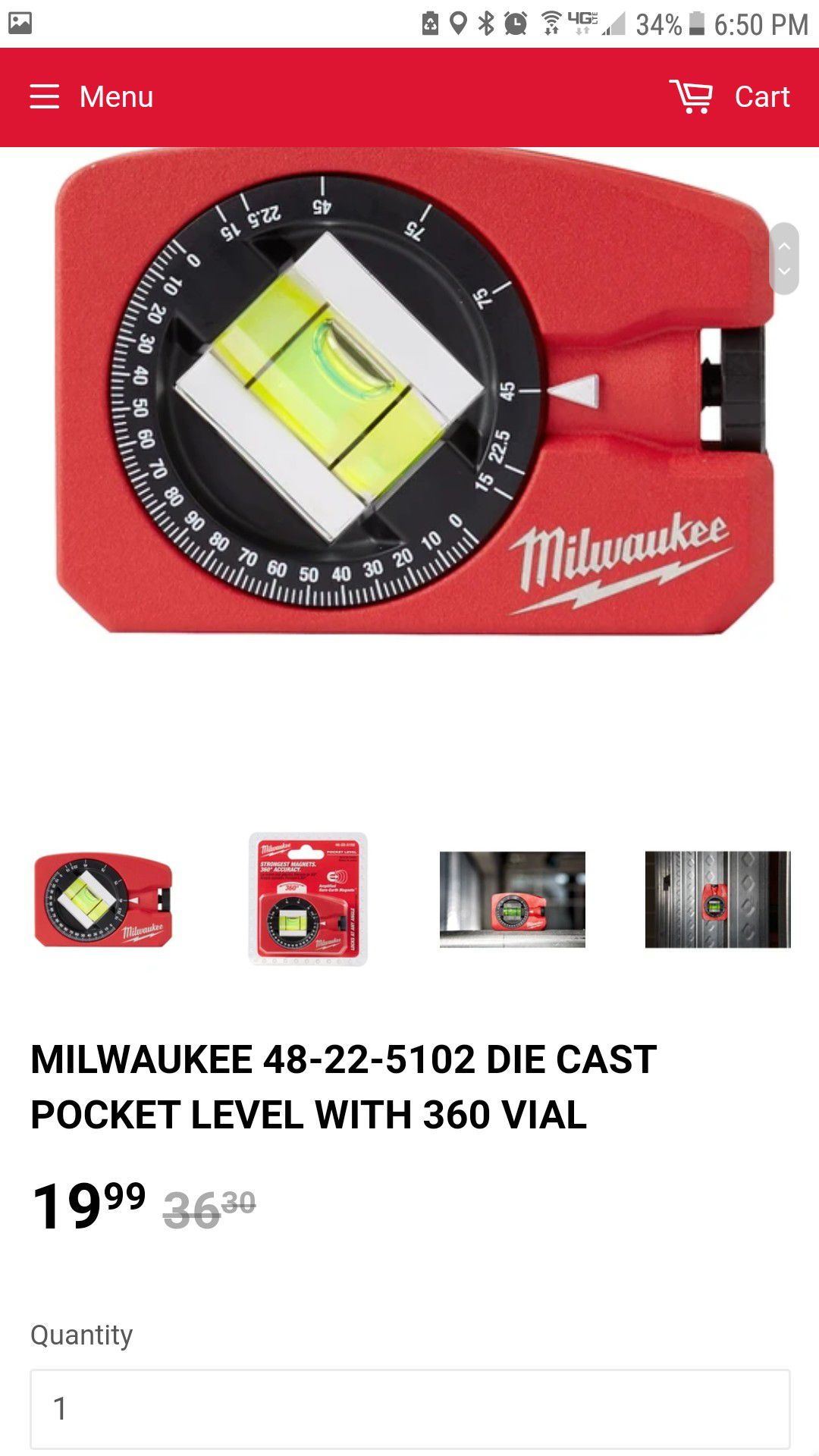 Milwaukee Strongest Magnets 360 accuracy pocket level
