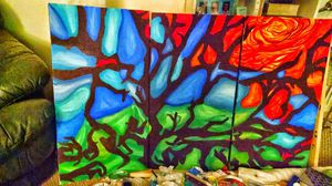 Tree abstract original painting for Sale in Seattle, WA