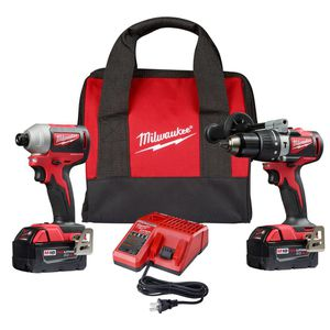 Milwaukee M18 18-Volt Lithium-Ion Brushless Cordless Compact Hammer Drill/Impact Combo Kit (2-Tool) with (2) 4.0Ah Batteries, Bag for Sale in Silver Spring, MD