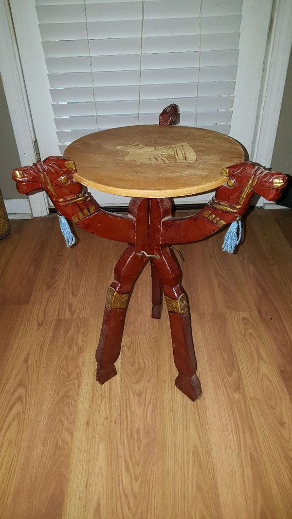 2 Foot High Folding Camel Side Table