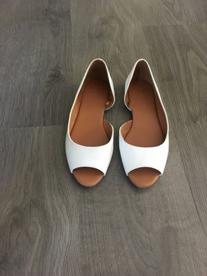 H&M white leather open toe flats- size 7 for Sale in Apex, NC