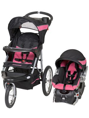 Photo Pink Baby Jogger Canopy Infant Traveling System Jogging Foldable Stroller Car Seat Combo