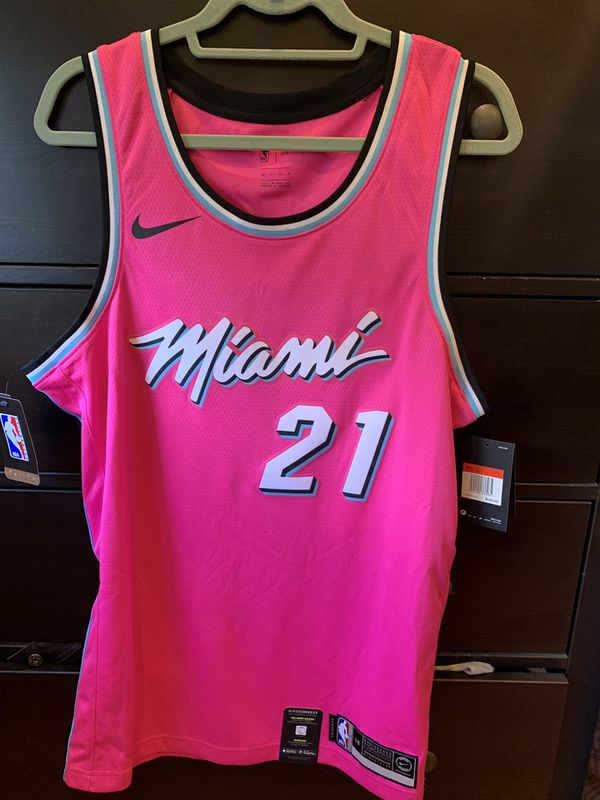 ece8a99a681 Hassan Whiteside Miami Heat Sunset Vice Pink Earned Edition Jersey ...