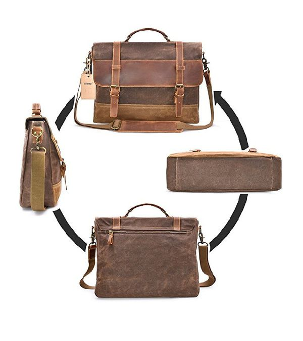NEWHEY Mens Messenger Bag Waterproof Canvas Leather Computer Laptop Bag  15.6 Inch Briefcase Case adbf199c430dd