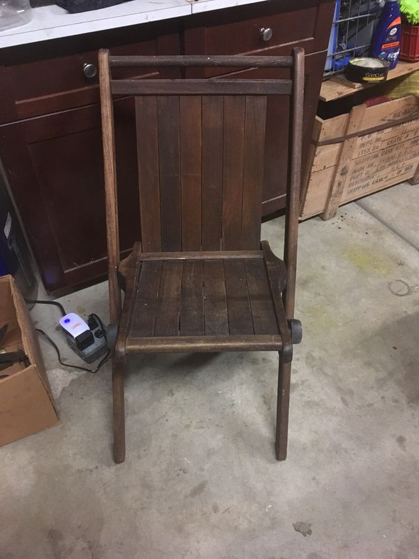 Antique Wooden Folding Chair For Sale In Aurora Il Offerup
