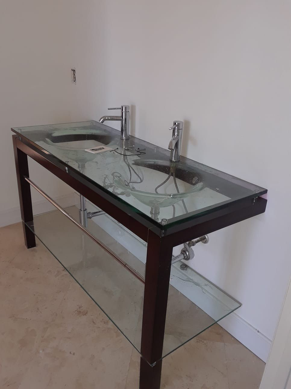 Double sink Bathroom cabinet with faucets