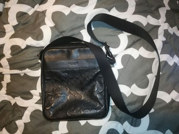 Coach F11741 Men s Signature Charles Flight Messenger Crossbody Bag Black   350 retail 41217a7e66f2b