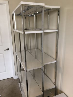 Two (2) white and chrome bookshelves for Sale in Annandale, VA