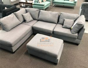 Brand New Grey Linen Sectional Sofa Couch + Ottoman (3 Color Options) for Sale in Arlington, VA