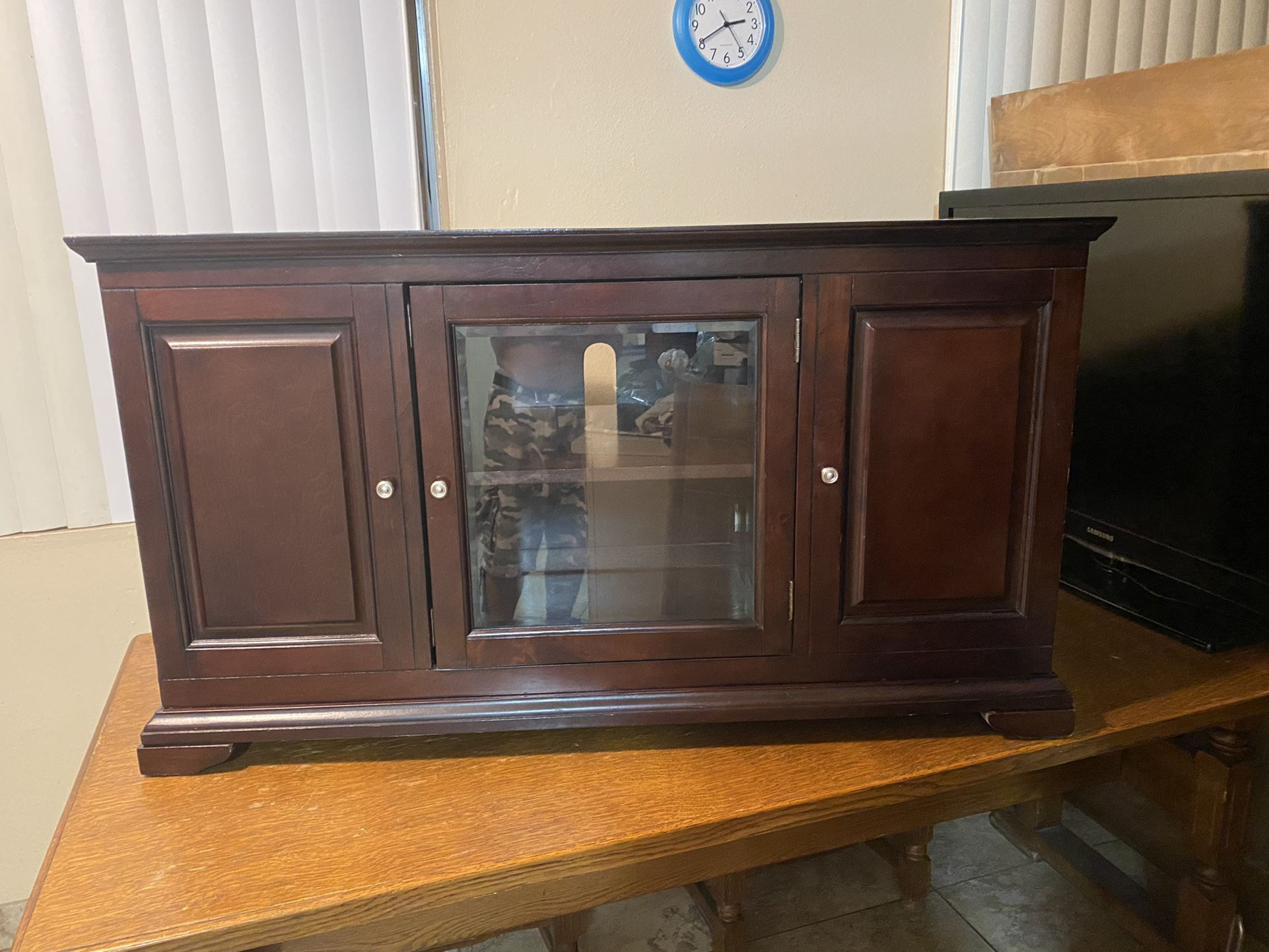 Cherrywood cabinet (real Wood) And with shelves on each end and middle. Check out my other items on my profile page