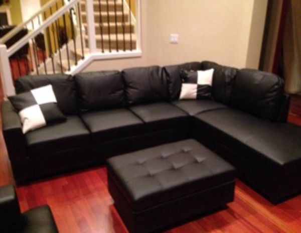Brand New Black Leather Sectional Couch With Storage Ottoman And Pillows  for Sale in Seattle, WA - OfferUp