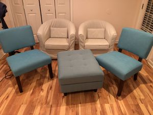 Love chairs, salon chairs and ottoman. Mint condition only 5 months old for Sale in Charlottesville, VA