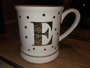 Photo Pier 1 One Imports Coffee Monogram Mug Letter E White Shiny Gold Polka Dots
