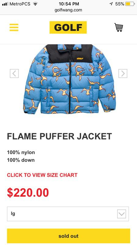 d509aa629d3d Golf Wang Flame Puffer Jacket Size L Sold Out Rare Tyler The Creator ...