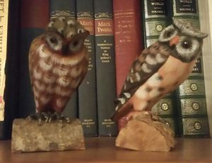 Hand Carved and Hand Painted Owl Figurunes for Sale in Glendale, AZ