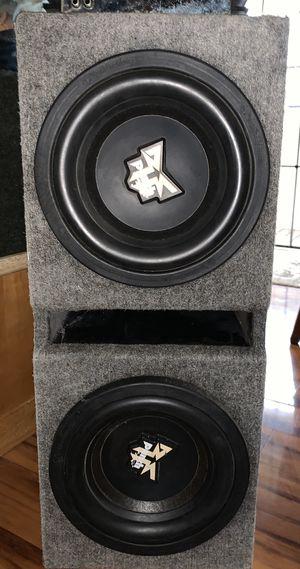 "Photo Rockford dual ""10 subs & Brutus HIFONICS 1600 w amp"