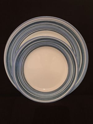 Set of 4 Corelle Dinner Plates & 4 Matching Smaller Plates—Cool Blue Striped Border for Sale in Vienna, VA