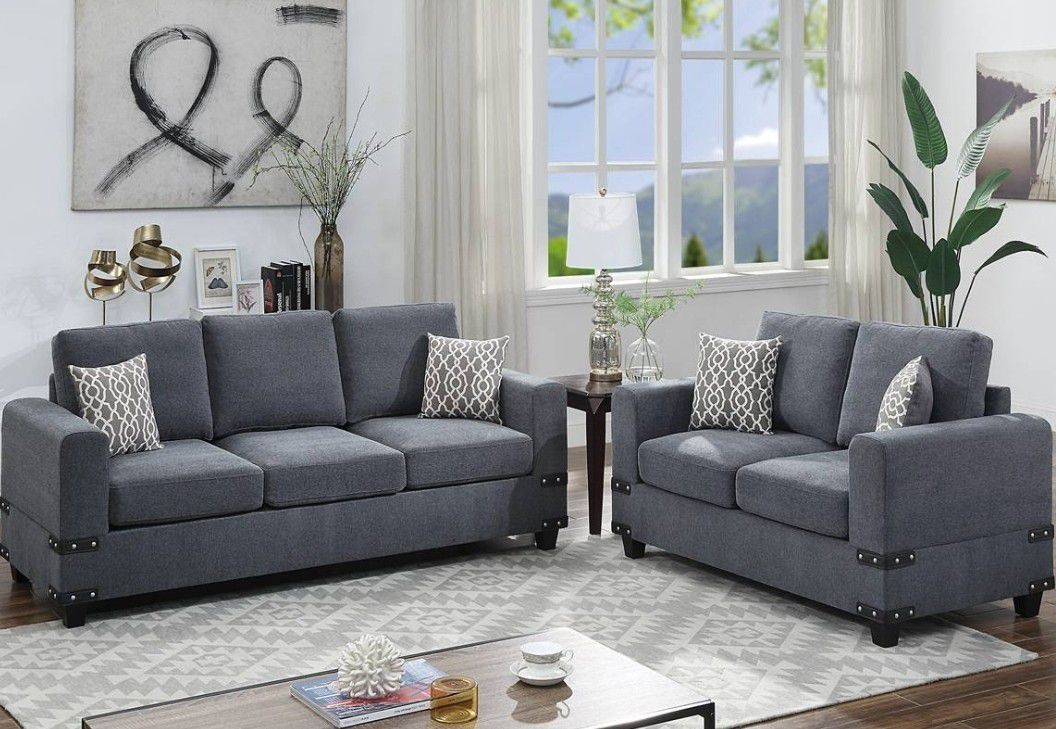 2 PCS SOFA SET  CHARCOAL  NEW IN BOX FINNANCY AVAILABLE ☎️1714586*2564