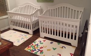 2 white wooden cribs with 2 toddler conversion kits available for pick up! for Sale in Washington, DC