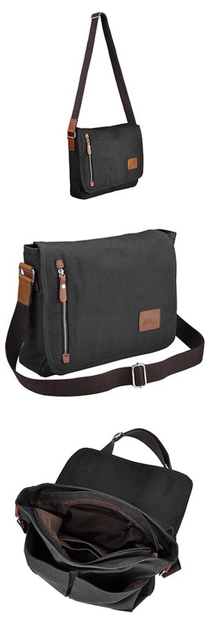 "316fe37f190c New  18 Black Color Men s 14"" Vintage Satchel Shoulder Messenger Laptop  School Bag 14x11x3"""