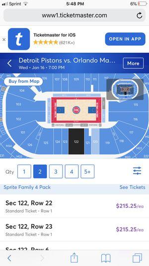 Piston tickets i got all games home for Sale in Detroit, MI