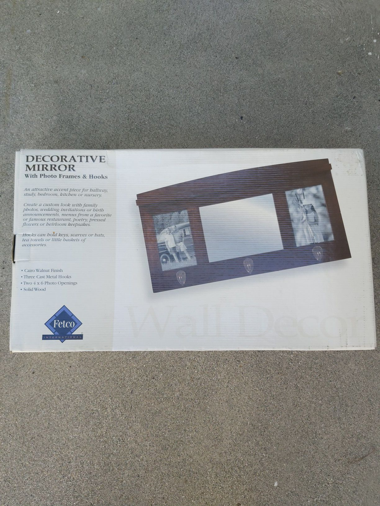 Decorative mirror and photo frame with 3 hooks