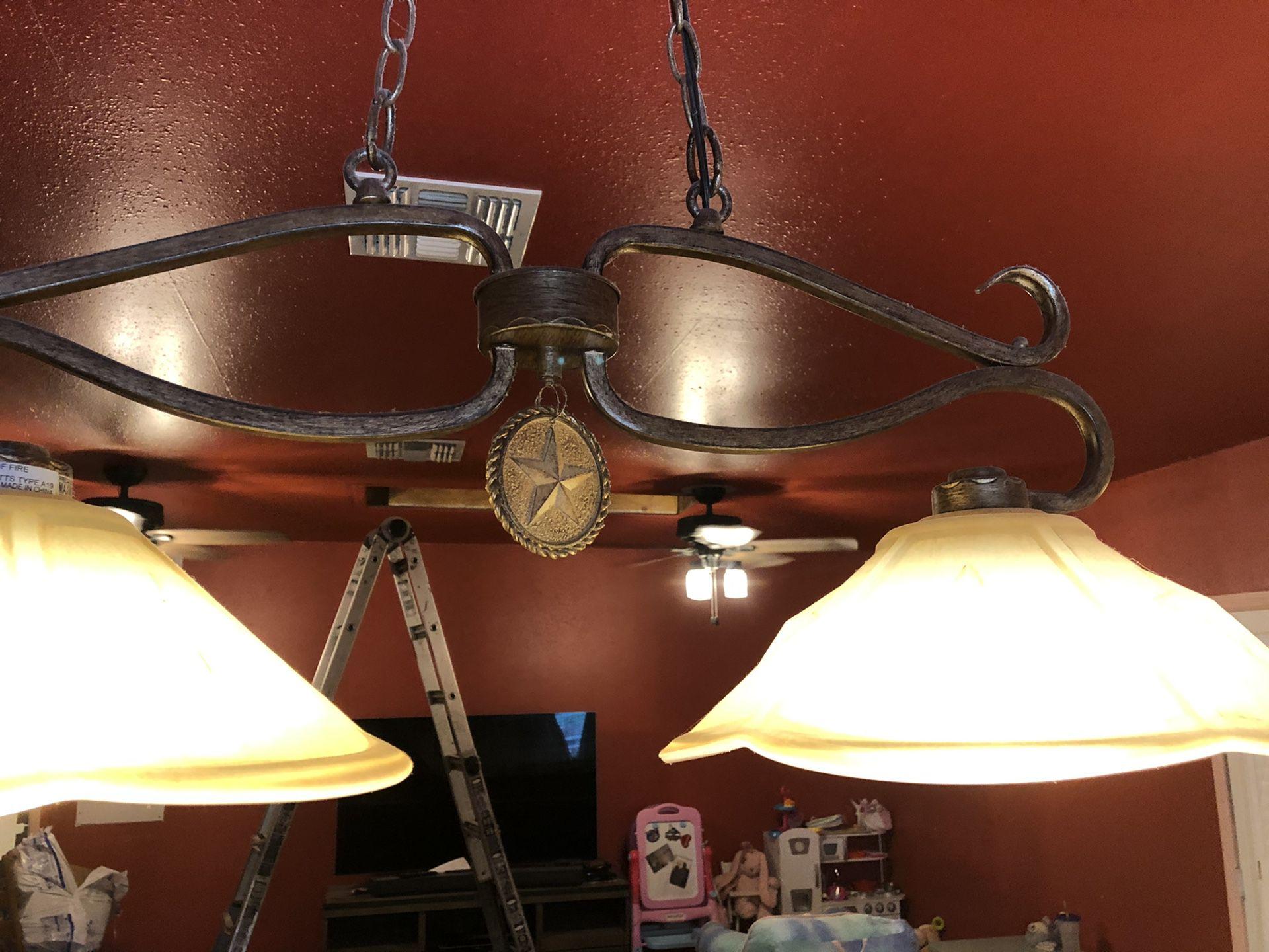 Wrought Iron billiard lights set of 2