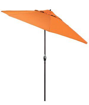 Photo California Umbrella ATA908117-5417 9' Round Aluminum Market, Crank Lift, Auto Tilt,