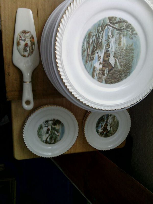 Currier & Ives by Harkerware dessert plate with serving plates & pie ...
