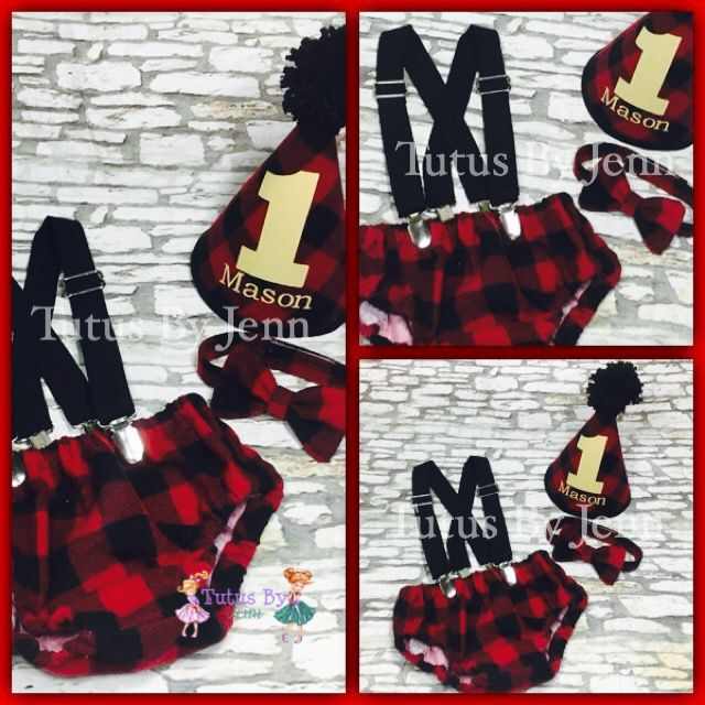 Buffalo Plaid Camper Bloomer Cake Smash Outfit Set