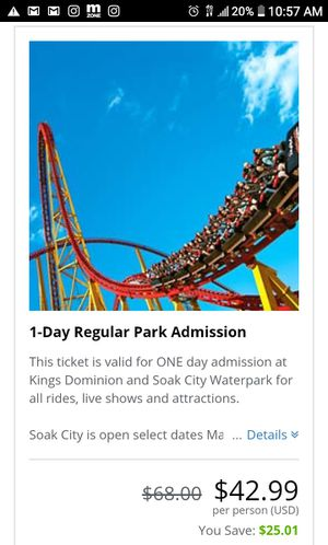 Kings Dominion 1 Day Pass for Sale in US
