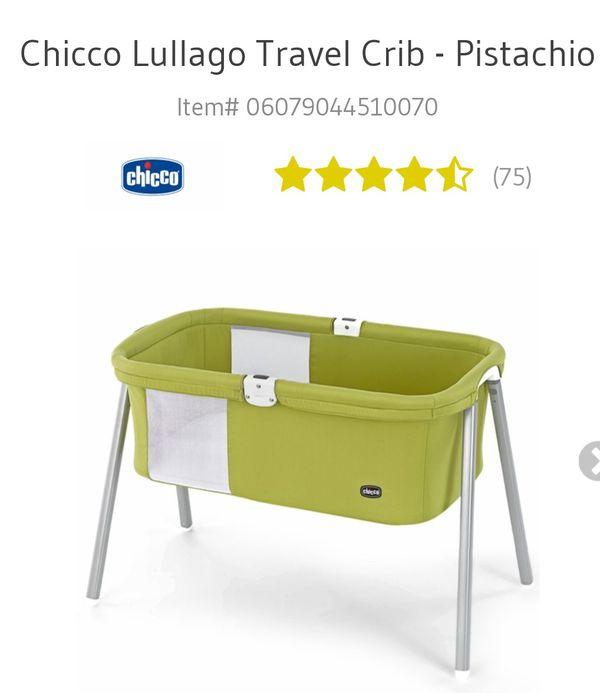 Chicco Lullago Portable Bassinet Travel Crib Pistachio Used One