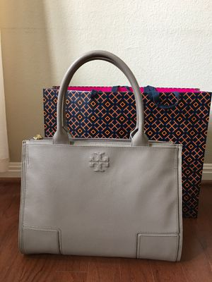 14ef5605a7a6 Tory Burch Ella Leather Canvas Tote Handbag French Gray for Sale in  Pflugerville