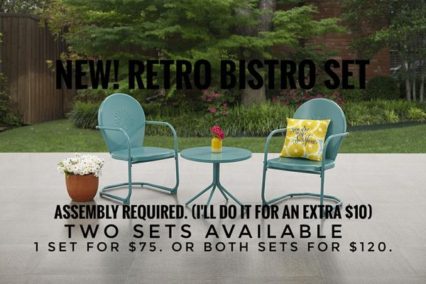 New Table Chairs Retro Bistro Set Free Delivery For In Rockford Il Offerup