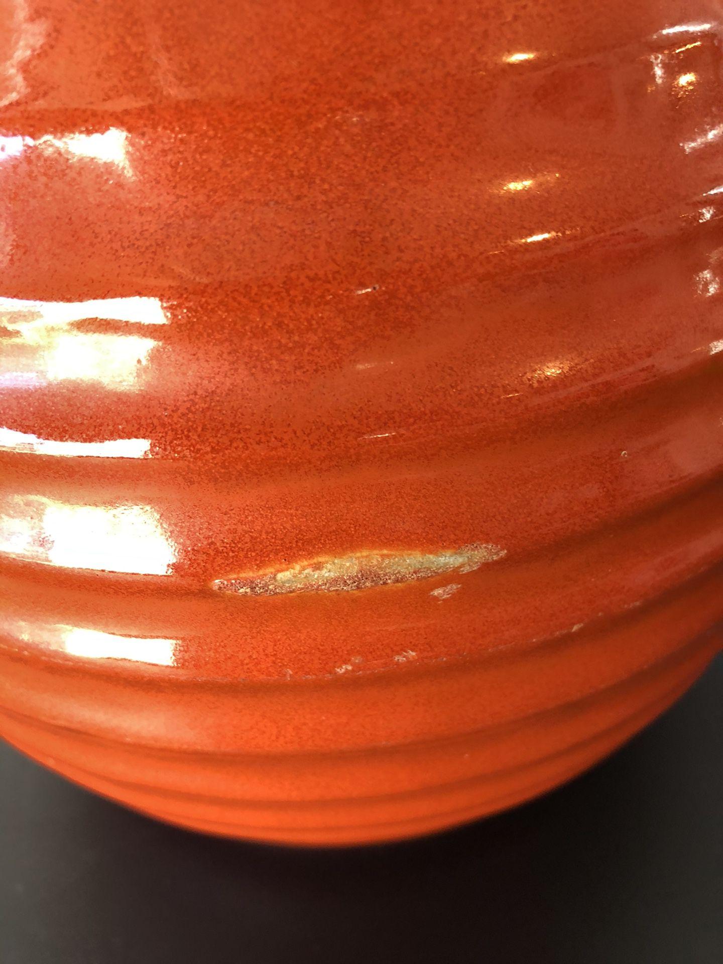 Antique LARGE Bauer 2 Qt Orange Ringed Pitcher Jug Pottery Vintage