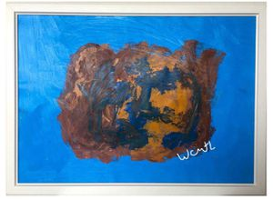 'The Blues'' / positive abstract art painting by artist W.C-M.T.L for Sale in Arlington, VA