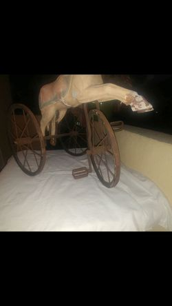 Antique hand carved wood horse tricycle Thumbnail