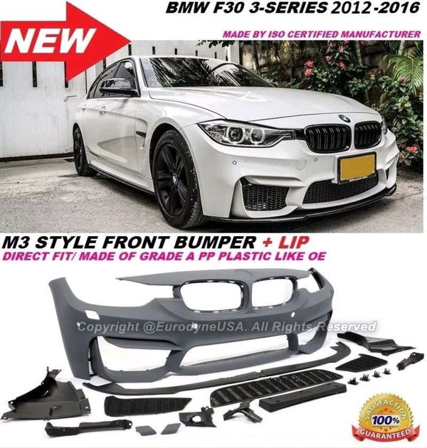 Bmw 3 Series 12-17 F30 M3 Style Conversion Front Bumper Cover + Lip  w/Sensor Holes for Sale in Los Angeles, CA - OfferUp