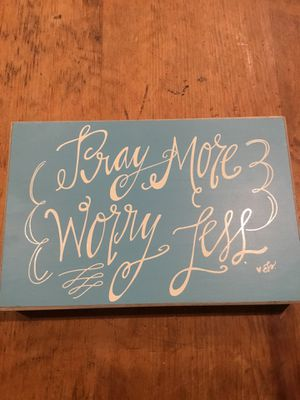 Wood decor from hobby lobby pray more and worry less frame. for Sale in Austin, TX